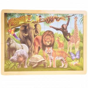 Puzzle Pufo din lemn pentru copii, 24 piese, 40 x 30 cm, model Jungla animalelor