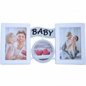 Rama foto decorativa Baby love pentru 2 poze, 35 x 16 cm
