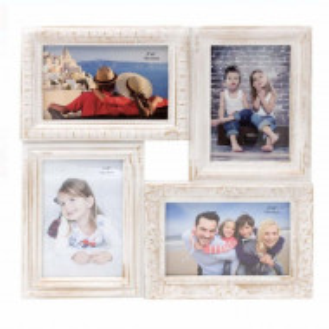 Rama foto Pufo Vintage cu model in relief, 4 poze, 33 x 33 cm