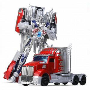 Robot transformabil Pufo cu arma si scut, gri, 38 cm