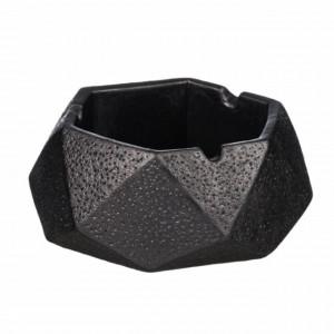 Scrumiera Pufo Black din ceramica, 10 cm, hexagonala, negru