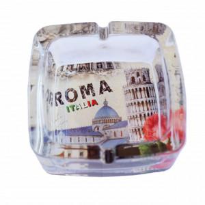 Scrumiera Pufo din sticla, model Roma, 9,5 cm