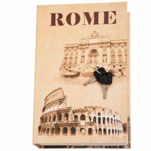 Seif secret tip carte cu 2 chei pentru blocare, model Roma, 24 x 16 cm