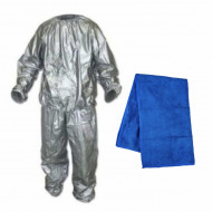 Set Costum de slabit cu efect de sauna Pufo, unisex, marimea M + Prosop din microfibra pentru sport, antrenamente fitness, yoga, etc, 40 x 65 cm