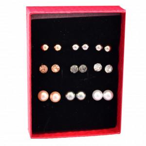 Set de 9 perechi de cercei cu perle acrilice in forma de bobite, model Pearls Lady
