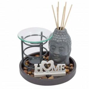 Set decorativ Pufo cu suport pentru uleiuri esentiale, figurina Buddha si mesaj Home