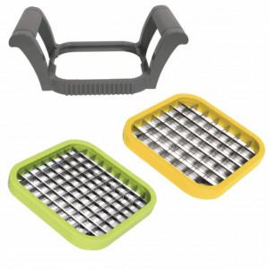 Set dispozitiv manual Pufo pentru feliat si taiat legume sau fructe, 3 bucati