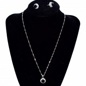 Set elegant argintiu, cercei si pandantiv cu piatra neagra, Black Crystal