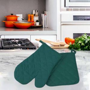 Set manusa de bucatarie pentru gratar sau cuptor si suport pentru vase fierbinti, verde