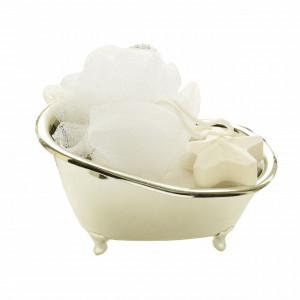 Set organizator in forma de cada pentru produse cosmetice, sapunuri + burete si sare de baie, Pufo