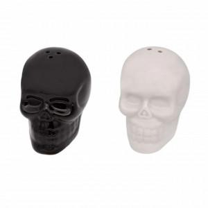 Set recipiente pentru sare si piper, model Cap de craniu, ceramica, alb si negru, Pufo