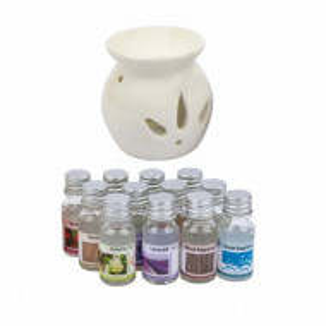 Set suport ceramic si 12 uleiuri aromate cu esente diferite pentru aromaterapie, Pufo
