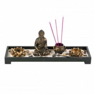 Set suport Pufo pentru bete parfumate cu statueta lui Buddha