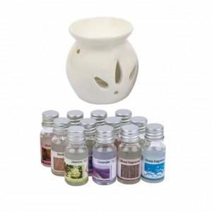Set suport si 12 uleiuri aromate cu esente diferite pentru aromaterapie, Pufo