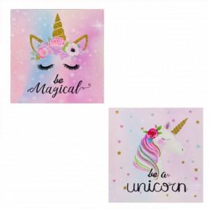 Set tablou decorativ canvas Pufo Unicorn, 25 cm, 2 bucati