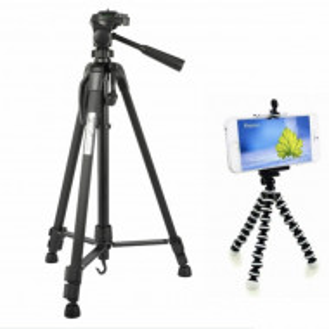 Set Trepied foto telescopic Weifeng WT-3520 universal 54 -140 cm, negru, husa transport inclusa + Trepied flexibil cu suport pentru telefon mobil sau aparat foto, Pufo
