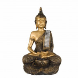 Statueta decorativa Buddha cu suport pentru lumanare, 28 cm, Pufo, aurie