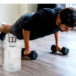 Sticla pentru apa cu capac, 900 ml, transparenta, Pufo