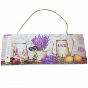 Tablita decorativa din lemn cu termometru incorporat, model Lavender de Provence, 25 cm