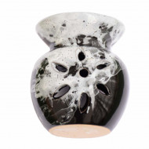 Vas din ceramica pentru aromaterapie Pufo, model negru cu alb