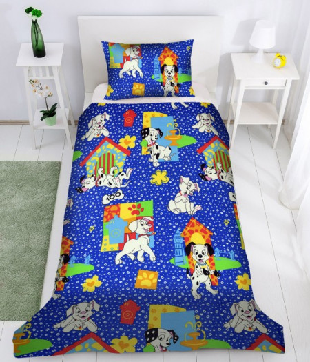 Poze Lenjerie de pat copii Dalmatieni Disney fundal albastru ( stoc limitat )