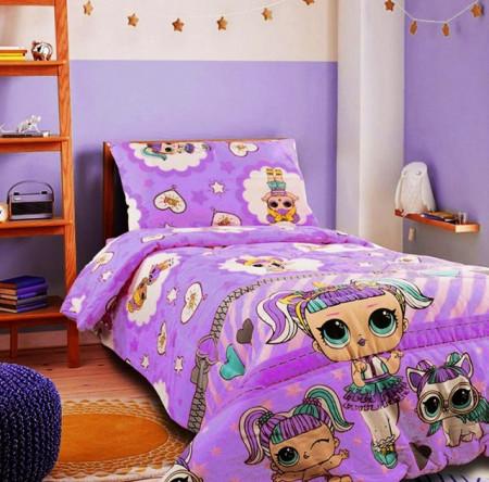 Lenjerie de pat copii LOL Surprise fundal mov