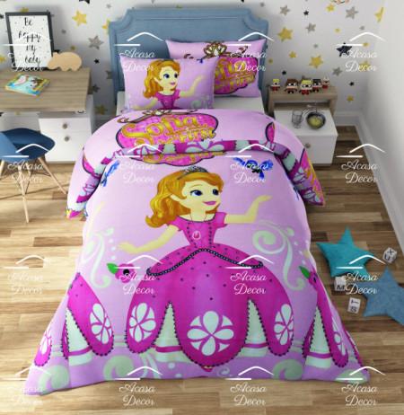 Poze Lenjerie de pat copii Sofia fundal roz ( stoc limitat )