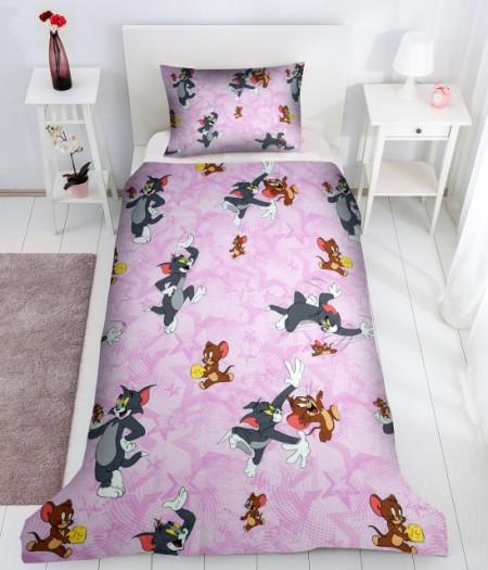 Poze Lenjerie de pat copii Tom & Jerry fundal roz