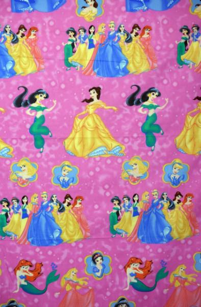 Bumbac ranforce imprimat pentru copii model Princesses roz rola 40m/225cm