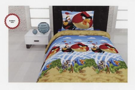 Poze Lenjerie de pat copii Angry Birds bumbac 100%