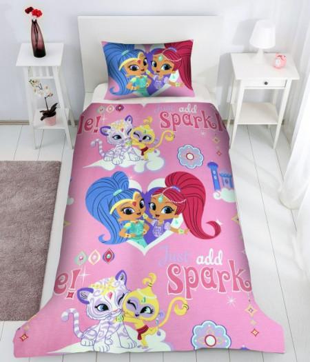 Poze Lenjerie de pat copii Love Princess fundal crem