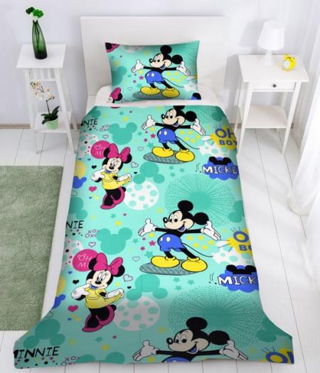 Poze Lenjerie de pat copii Mikey & Minnie Disney fundal verde ( stoc limitat )