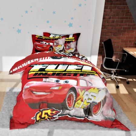 Poze Lenjerie de pat copii Cars McQueen fundal rosu
