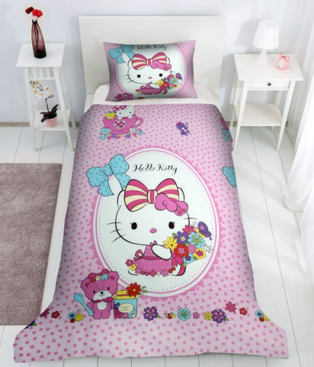 Lenjerie de pat copii Hello Kitty flowers
