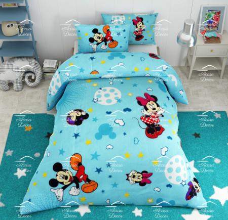 Poze Lenjerie de pat copii Mickey si Minnie stars fundal albastru