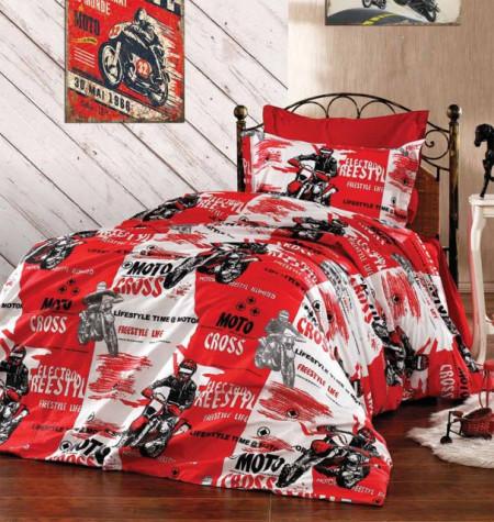 Poze Lenjerie de pat copii Moto Cross fundal rosu