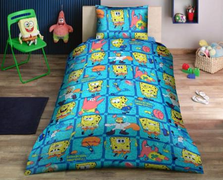 Poze Lenjerie de pat copii Spongebob Disney fundal albastru ( stoc limitat )