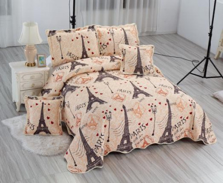 Poze Cuvertura de pat East Confort matlasata din bumbac brodat