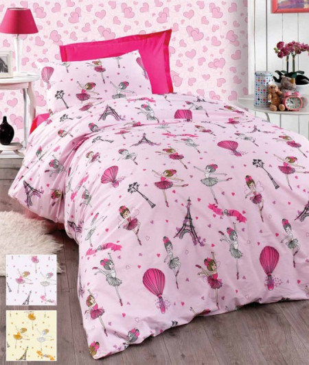 Poze Lenjerie de pat copii Balerina 2 fundal roz