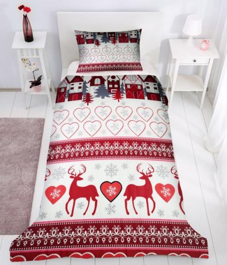 Poze Lenjerie de pat copii Reni de Craciun 2