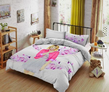 Poze Lenjerie de pat copii Violetta fundal roz ( stoc limitat )