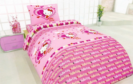 Poze Lenjerie de pat copii Hello Kitty Heart