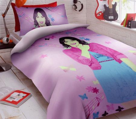 Poze Lenjerie de pat copii Violetta music fundal roz ( stoc limitat )
