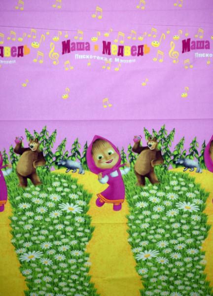 Bumbac ranforce imprimat pentru copii model Masha rola 40m/225cm