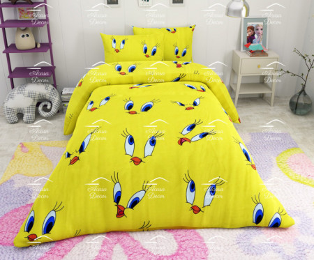 Poze Lenjerie de pat copii Tweety fundal galben