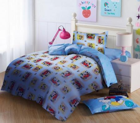 Poze Lenjerie de pat copii Mikey & Minnie fundal albastru