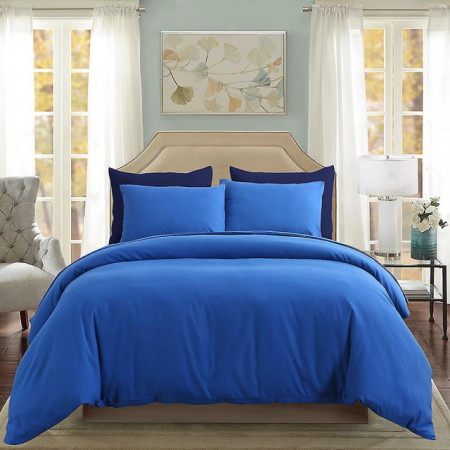 Lenjerie de pat matrimonial Premium Ranforce uni albastru