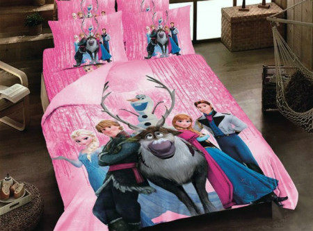 Lenjerie de pat copii Frozen fundal roz ( stoc limitat )