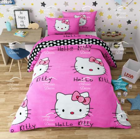 Lenjerie de pat copii Hello Kitty fundal roz