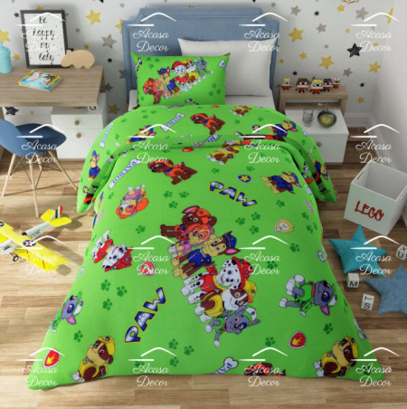 Lenjerie de pat copii Patrula Catelusilor fundal verde ( stoc limitat )